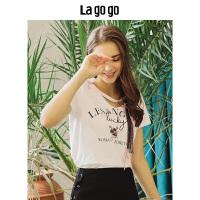 【5折价108】Lagogo/拉谷谷2018年夏季新款时尚学院风短袖印花T恤HATT315Y07