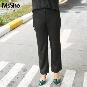 MsShe大腿粗的女生裤子直筒裤2017新款秋装胖mm长裤M1630332