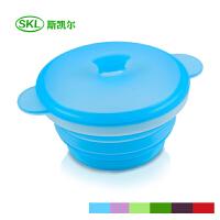 折叠碗硅胶折叠伸缩户外旅行餐具学生泡面方便面带盖便携碗 水晶蓝