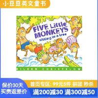 #小豆豆英文童书 Five Little Monkeys Sitting in a Tree 五只小猴子坐在树上 英文