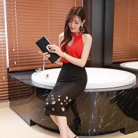 2018夏装新款名媛时尚小香风胸前镂空上衣+高腰个性半身裙套装女 红色 均码