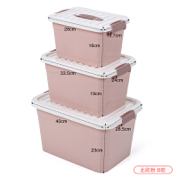 塑料有盖特大号三件套手提式收纳箱衣服玩具整理箱储物盒 北欧粉 B款 大中小3件套