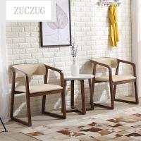 ZUCZUG实木餐椅 北欧时尚家用扶手椅创意咖啡椅 水曲柳皮艺餐椅