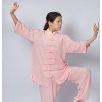 太极服男棉麻短袖亚麻裤中国风中老年太拳练功服装女夏季