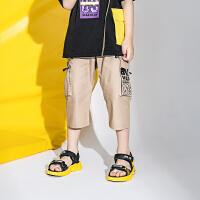 【2件3折价:55.2元】大黄蜂童装 男童七分裤2020夏季新款小男孩韩版休闲裤儿童短裤潮
