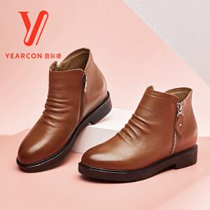 意尔康女鞋2017冬季新款舒适真皮女靴时尚圆头短筒靴低跟褶皱短靴