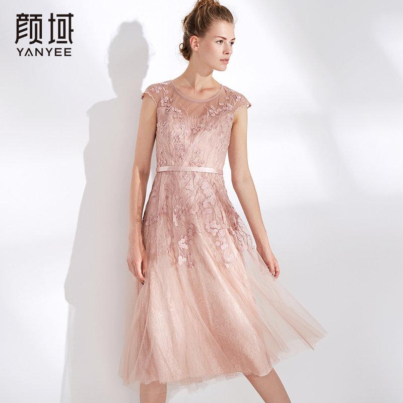 颜域女装夏装2018新款气质短袖修身显瘦刺绣钉珠网纱拼接连衣裙女
