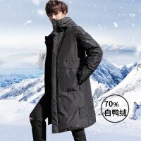 男士羽绒服中长款2018新款冬季加厚韩版潮流修身帅气潮牌轻薄外套
