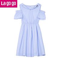 【5折价139.5】Lagogo/拉谷谷2018年夏季新款时尚学院风女露肩连衣裙HALL325A26