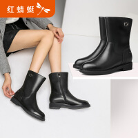 【红蜻蜓1件2折,领�宦�100再减20】红蜻蜓短靴女冬季新款平跟中筒女靴子百搭年轻皮靴子棉靴
