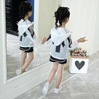 女童套装新款儿童韩版夏季防晒衣服洋气大童时髦潮衣