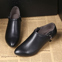 秋冬中跟工作鞋黑色皮鞋深口单鞋职业高跟鞋通勤正装工装女鞋