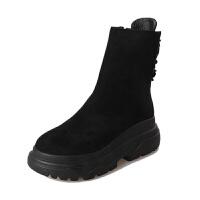 马丁靴女英伦短靴冬季松糕女鞋秋冬厚底短筒加厚棉靴女靴雪地棉鞋真皮 黑色 单款