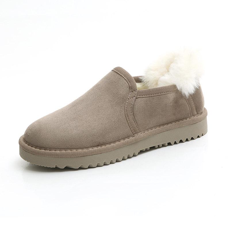 2018冬季新款低筒雪地靴女韩版学生保暖面包鞋百搭短靴加绒棉鞋女   加绒懒人韩版面包鞋 低帮棉鞋短靴女