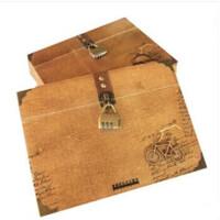 创意复古木盒装个性同学录 带锁毕业纪念册通讯录活页可手提 图案* 一本价钱