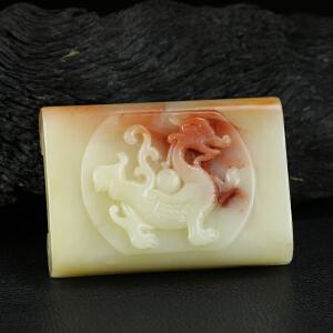 寿山巧色芙蓉石 精雕青龙博古笔搁 镇纸 收藏佳品 p900