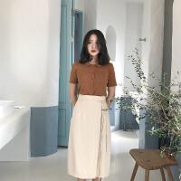 棉麻系带半身长裙复古杏色高腰开叉包臀半身裙中长款 杏色