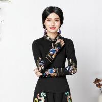 云南民族风女装上衣刺绣花文艺复古立领中国风秋装2018新款T恤 黑色
