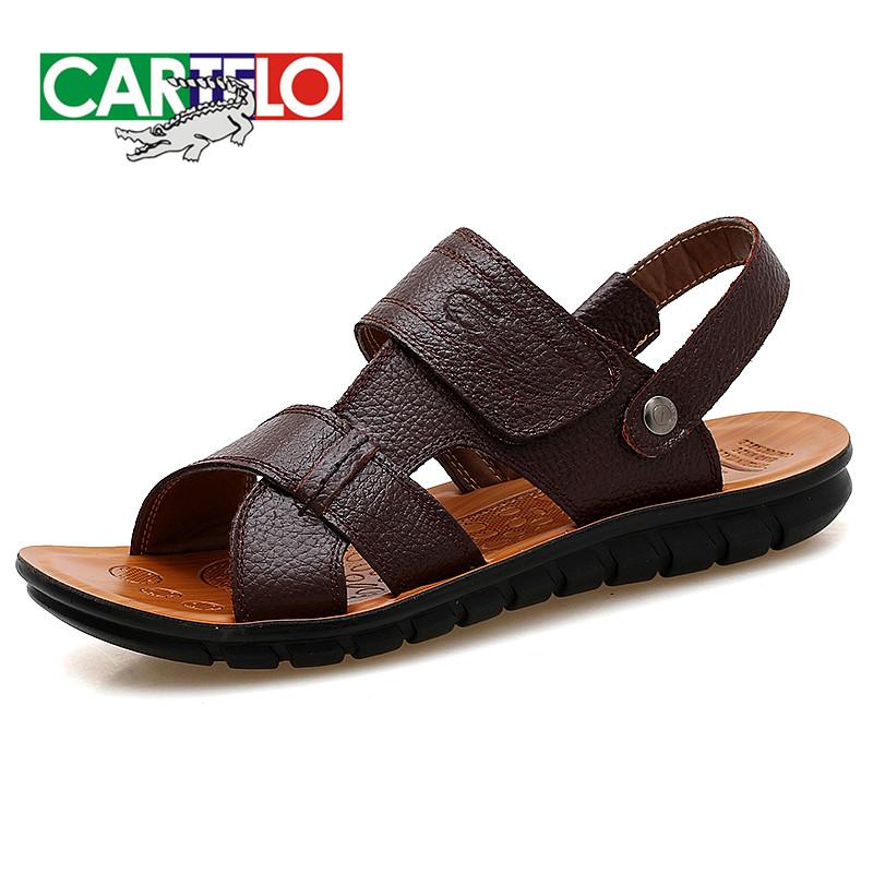 卡帝乐鳄鱼男鞋新款凉鞋男休闲鞋真皮男士夏季潮沙滩鞋两用凉拖鞋