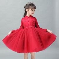女童旗袍裙礼服生日公主裙长袖红色中国风儿童主持走秀演出服秋冬