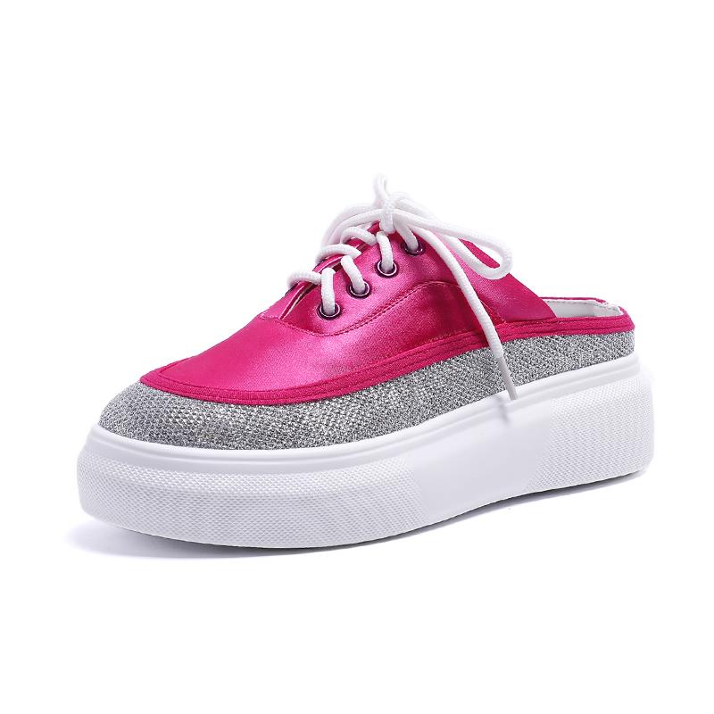 包头半拖鞋女夏外穿2018新款韩版百搭厚底单鞋网红松糕无跟懒人鞋