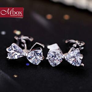 新年礼物Mbox耳钉 气质女款韩国版可爱时尚蝴蝶结元素设计耳钉耳环 洛丽塔
