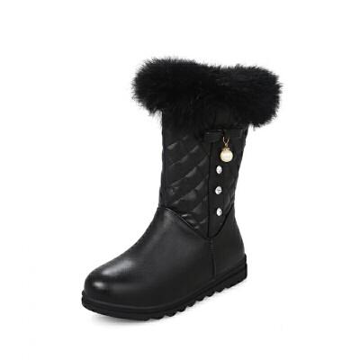 女童靴子韩版2018新款冬季女孩水钻公主靴加厚儿童雪地靴短靴