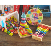 串珠玩具实木宝宝玩具1-3岁益智力串珠子婴儿童穿线积木3-6岁男女小孩木珠A