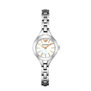 Armani阿玛尼银色小巧大气女款手表 珠宝扣钢带简约石英表AR7425