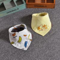 2条装春夏全棉围脖按扣纯棉婴儿口水巾头巾宝宝围嘴兜三角巾潮款
