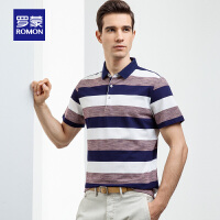 Romon/罗蒙短袖POLO衫男2019夏季新款商务修身中青年翻领条纹T恤