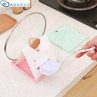 笑脸可折叠放锅盖的架子锅垫勺子架厨房用品厨具收纳架砧板置物架 颜色随机