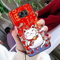 三星s6手机壳直屏新款3星s6可爱卡通sm-g9209过年sm一g9208大红色smg9200冬天6 海浪猫