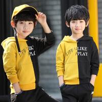 男童卫衣春装新款韩版字母印花休闲套头上衣中大儿童连帽外套