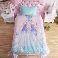 ???儿童四件套纯棉全棉女孩公主风被套1.2m1.5m床单人三件套床上用品