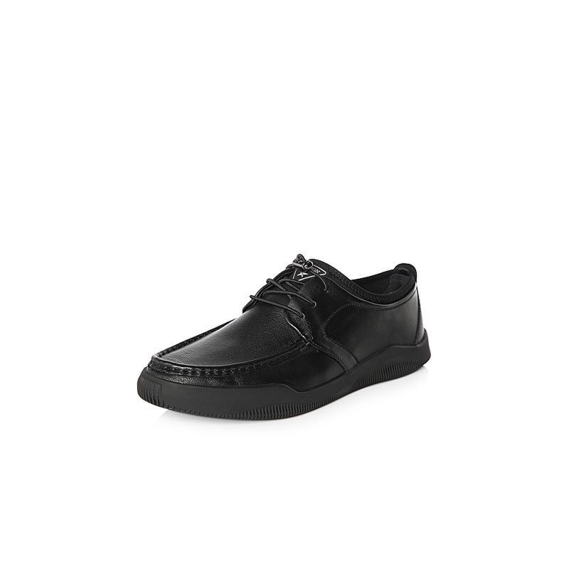 Belle/百丽2018春季新品专柜同款摔纹小牛皮革/纺织品男皮鞋B2F20AM8