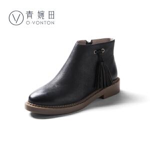 2018新款舒适休闲真皮女鞋流苏短靴女圆头平底女靴春单靴及裸靴
