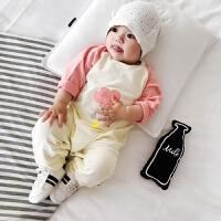 婴儿衣服春秋 新生儿外出哈衣0-3个月爬服 宝宝春装连体衣潮