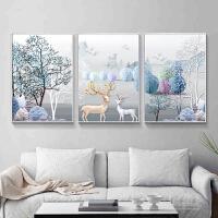 2018印花十字绣三联画线绣新款客厅简约现代大幅发财麋鹿欧式满绣