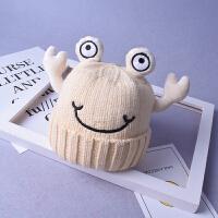 可爱儿童毛线帽子秋冬女童套头帽婴儿创意螃蟹男童宝宝针织保暖帽yly 均码