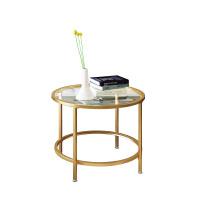 铁艺北欧家具钢化玻璃金色茶几圆形创意简约现代客厅大小户型边几 茶几 直径60高45cm(金色铁艺) 组装
