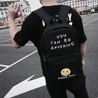 韩版帆布背包男学院风双肩包时尚潮流青少年初中高中校园学生书包