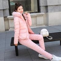 2018冬季新款女套装羽绒显瘦加厚修身短款棉衣两件套可脱卸帽