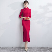 新娘敬酒服旗袍2018新款秋冬季红色中长款长袖中式结婚回门礼服女