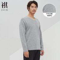 【全场2件2.5折,到手价:197.5】CHIN祺秋季男士绵羊毛毛衣纯色薄款线衫修身个性圆领针织衫打底衫