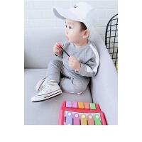男童秋装套装儿童1-2-3岁韩版卫衣裤子宝宝两件套2018新款女童 灰色 80cm