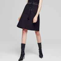 【全场2件2.5折,到手价:37.5】美特斯邦威半身裙女摇滚绑带棉半裙