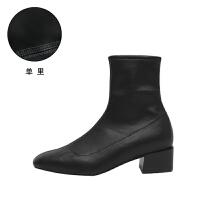 chic马丁靴女2018秋冬新款百搭中跟短靴粗跟短筒踝靴子方头弹力靴