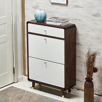 超薄鞋柜家用门口大容量储物收纳柜翻斗式柜子实木衣架一体小户型