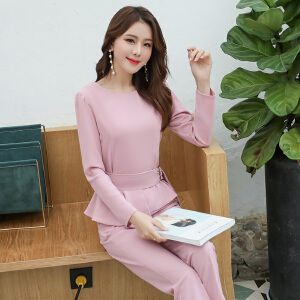 风轩衣度 套装/套裙舒适修身纯色气质韩版简约咖色长袖纯色2018年春季新款 G11